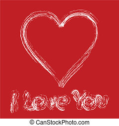 Written declaration of love by white paint on red wall, vector