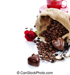 Valentine card. Chocolate and coffee for Valentine's Day