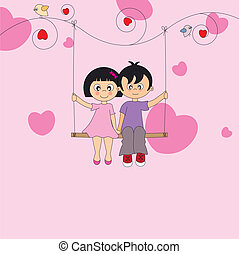 Valentine Card. couple in love sitting on a swing