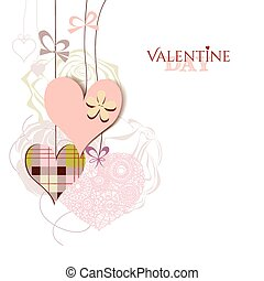 Valentine card cute hanging hearts