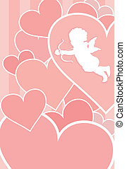 Valentine card with cupid, hearts and copy space. Separate layers