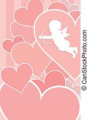 Valentine Card Design - Valentine card with cupid, hearts ...