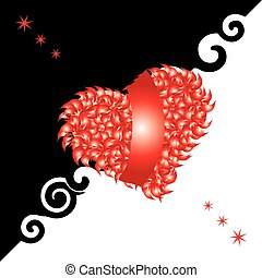 Valentine card, heart, black and white background