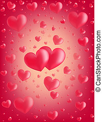 Valentine card hearts vector backgr