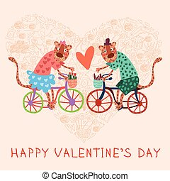 Valentine card in love with jaguars