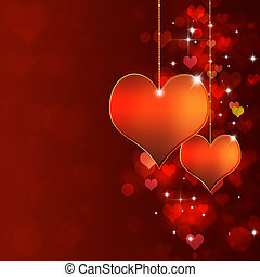 Valentine Card - red heart background for the lovers day