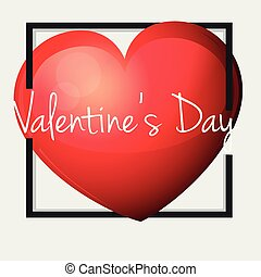 Valentine card template with big red heart
