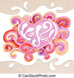 Valentine card - Vector artistic valentine card on the...