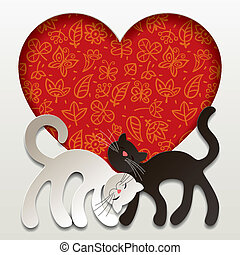 Valentine card - Vector valentine card with two paper white...
