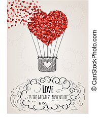 Valentine card with a heart-shaped hot air balloon and a...