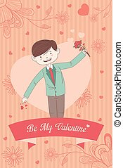 Valentine card with Be My Valentine words