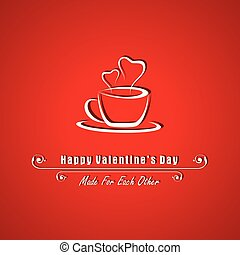 Valentine card with coffee mug illustration vector