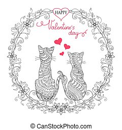 Valentine card with couple cats - Valentine greeting card...