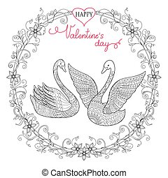 Valentine card with couple swans - Valentine greeting card...