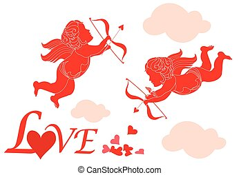 Valentine card with cupid