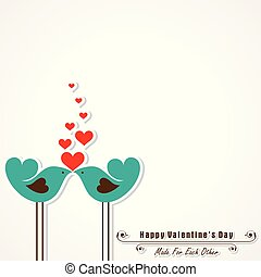 Valentine card with cute birds illustration vector