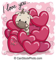 Cute Cartoon Giraffe in hearts