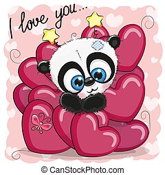 Cute Cartoon Panda in hearts