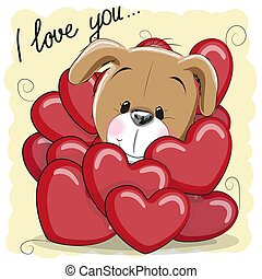 Cute Cartoon Puppy in hearts