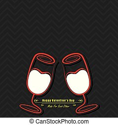 Valentine card with cute wine glasses illustration vector