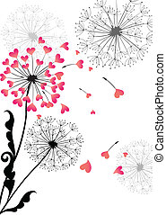 Valentine card with dandelion