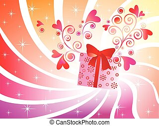 Valentine card with gift box