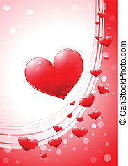 Valentine card with glossy heart - Vertical Valentine's Day...