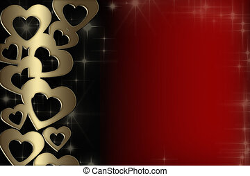 valentine card with gold hearts