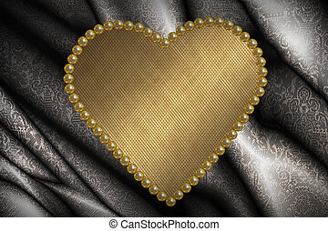 Valentine card with golden heart