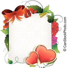 Valentine card with hearts and flowers