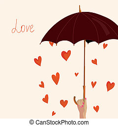 Valentine card with hearts and umbrella