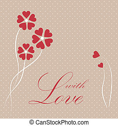 Valentine card with hearts