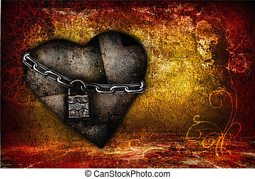 Valentine card with iron heart