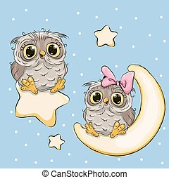 Valentine card with Lovers Owls on a moon and star