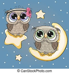Valentine card with Lovers Owls