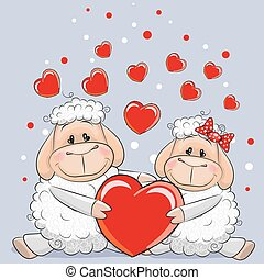 Lovers Sheep - Valentine card with Lovers Sheep and heearts...