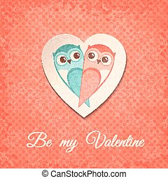 Valentine Card with Owls. Vector illustration, eps10.