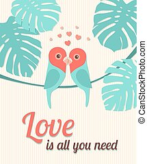 Valentine Card with Parrots. Vector illustration, eps10.