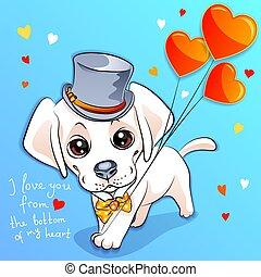 Valentine card with puppy Labrador
