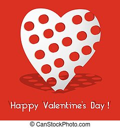 Valentine card with red holey heart, vector illustration