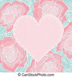 Valentine card with roses flowers