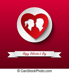 Valentine card with silhouette of lovers on red background