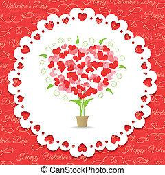 valentine, cartão postal, abstratos, árvore, corações, feliz