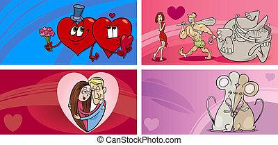 valentine cartoon greeting cards set