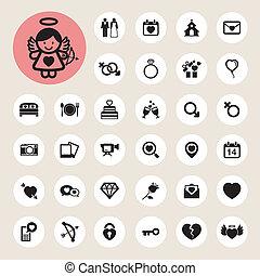 valentine, casório, jogo, dia, ícones