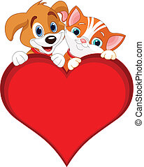 Valentine Cat and dog sign - Valentine Cat and dog holding...