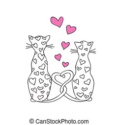 Valentine cats in love