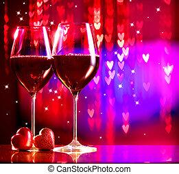 valentine, celebrating., due, occhiali, giorno, vino rosso