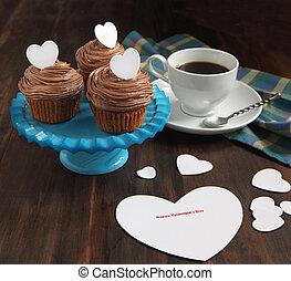 Valentine chocolate cupcake and Valentine card