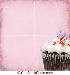 Valentine chocolate cupcake - Candy heart on a chocolate...